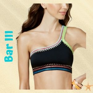 Bar III Be Weave It One-Shoulder Bikini Top